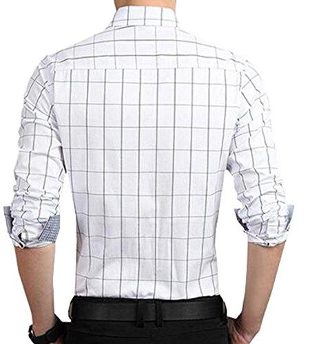 ... DD UP Herren Hemd Slim Fit Baumwolle Business Langarmhemd Kariert  Freizeit Hemden Weiß-2 ...
