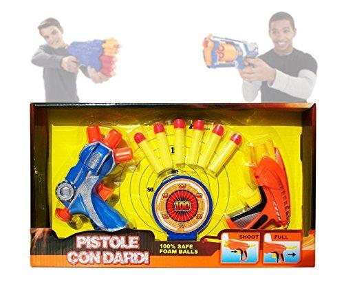 MEDIA WAVE store Set di due pistole a tripla canna con 6 dardi soft e doppio bersaglio armi giocattolo 2608