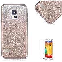Custodia Samsung Galaxy S4 Mini,Funyye Glitter Brillare Oro Rosa Graduale