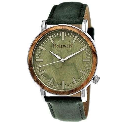 Handgefertigte Holzwerk Germany Designer Herren-Uhr Öko Natur Holz-Uhr Leder Armband-Uhr Analog...