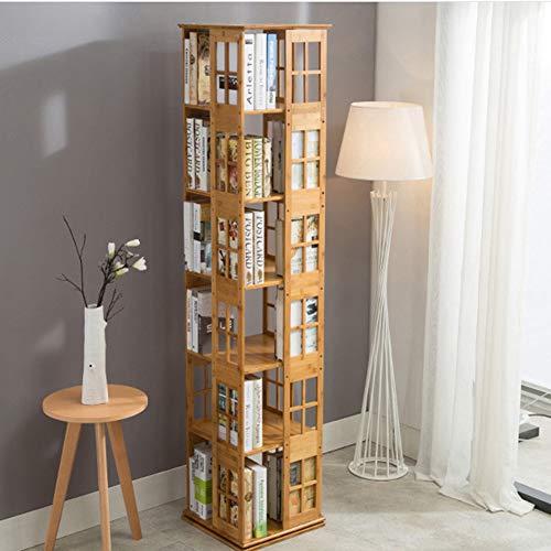 WEHOLY Regal aus Natürlichem Bambus Rotierendes Bücherregal,Natürlicher Bambus,360 Rotierendes Organizer-Schrankgestel Drehbarer Medienturm(Größe: 5-Tier / 6-Tier) -