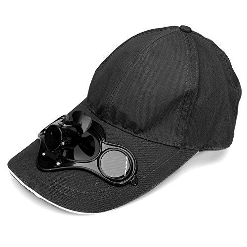 HanLuckyStar Batterie oder Sonnenenergie Solarventilator Hut Kappe für Golf und Solar-Baseball-Cap mit dem kühlen Mini-Ventilator Outdoorsport Sonnenhut Unisex
