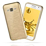 moex Samsung Galaxy J5 (2015) | Hülle Silikon Gold Brushed Back-Cover TPU Schutzhülle Ultra-Slim Handyhülle für Samsung Galaxy J5 2015 Case Dünn Silikonhülle Rückseite Tasche