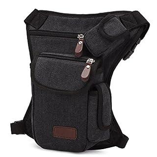 Aquiver Men Drop Leg Bag Tactical Military Thigh Panel Utility Waist Belt Pouch Bags Lot (Black)