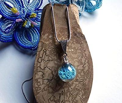 Pendentif globe en verre étoiles bleues chaîne argentée maille serpent/Idée cadeau femme, Noël, Saint Valentin, fête des mères, anniversaire