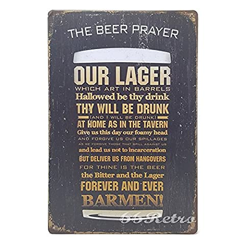 66Retro The Beer Player, Vintage Retro Metal Tin Sign, Wall Decorative Sign, 20cm x 30cm