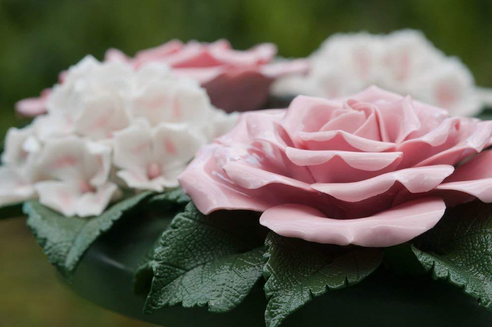 Flores Artificiales Hortensia Rosas – Corona Cerámica – Decoración Floral para el hogar y jardín – Flores de tumbas…