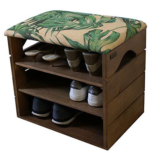 Liza Line® Schuhregal mit Zwei Einlegeböden und Sitzbank Flur Sitzfläche Schuhschrank Schuhablage Sitz Kissen Schuhkommode Organizer Schuhbank Standregal Garderobe Möbel | umweltfreundlich