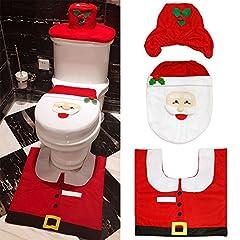 Idea Regalo - Ccinee, set copri water di Babbo Natale formato da copri serbatoio dell'acqua, copri tavoletta e tappetino, decorazione natalizia, in 3 pezzi