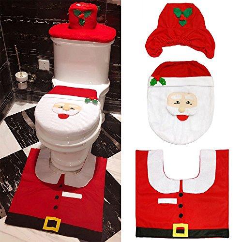 Teppich Santa (ccinee 3-Set Weihnachten Santa WC-Sitz Bezug und Teppich Set für Weihnachtsschmuck)