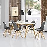 [en.casa] Esstisch Bambus weiß mit 6 Stühlen grau gepolstert 180x80cm Esszimmer Essgruppe Küche - 2
