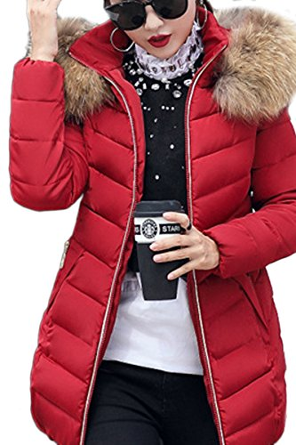 YMING Damen Lange Jacke mit Kunstpelzkapuze Steppmantel Steppjacke Warm Gefütert Winterjacke,Grün,L
