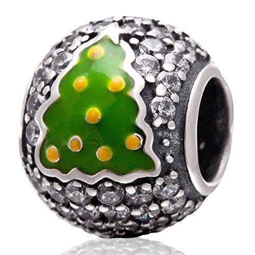 Soulbead in argento Sterling 925Albero di Natale Ciondolo Zirconia Cubica per regalo di natale