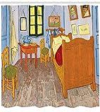 ABAKUHAUS Art Rideau de Douche, Intérieur de Chambre de Style de Peinture avec lit Table et chaises près de la fenêtre, Couleurs Vives sur Le Tissu, 175 X 200 cm, Multicolor
