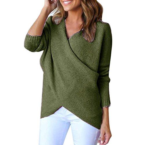 Pullover Damen Sweatshirt Ronamick Gestrickte Einfarbig Solides Langarmshirt Kreuz Strick Warm Pullover V-Ausschnitt Mode Top Blouse (Grün, S) (Raglan-Ärmel Rosa)