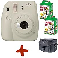 Bundle: Fuji Instax Mini 9 Smoky White Instant Film Camera + Case + 40 Shots (Take instant credit card size photos. Capture the moment and share the fun).