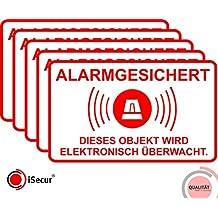 """5 Stück Aufkleber """"Alarm"""", iSecur®, alarmgesichert, 16,7x10cm, Art. hin_076_außen, Hinweis auf Alarmanlage, außenklebend für Fensterscheiben, Haus, Auto, LKW, Baumaschinen"""