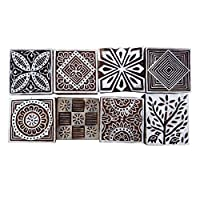 Lot Of 8 Pcs Indian Wooden Textile Stamps Hand Carved Printing Block Brown Stamp Brown WPB9A
