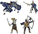 Papo Toy - Blue Knights 4 Inch Figures Playset of 4 - Knight - Horse - Bowman - Foot Soldier