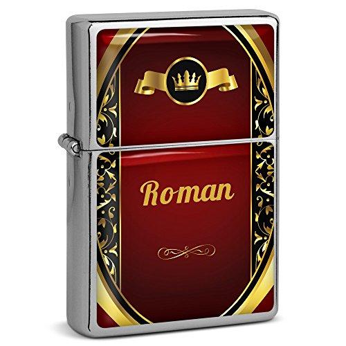PhotoFancy® - Sturmfeuerzeug Set mit Namen Roman - Feuerzeug mit Design Wappen 1 - Benzinfeuerzeug, Sturm-Feuerzeug