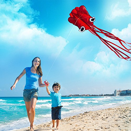 Lesonic Oktopus Drachen für Kinder und Erwachsene- Groß Einleiner Drachen Ohne Stäbe, 400 x 70cm Drachenflieger Flugdrachen, Drachen Steigen Spiele mit 50m Starker Drachenschnur und Spule