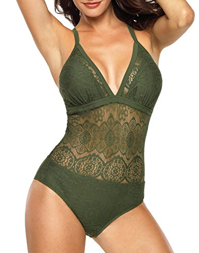 hschauen Monokini Badeanzüge Cross Lace Up Low Back Einteilige Badeanzüge (Ein Badeanzug Sexy Für Frauen)