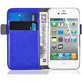 iPhone 4 Hülle, JAMMYLIZARD Luxuriöse Flip Cover Ledertasche mit Kartenfach für iPhone 4 & 4s, BLAU