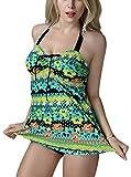 FEOYA-Tagliacapelli/Tankini Sexy Vintage-Costume da bagno da donna, 2 pezzi Mini shorty-Bikini Push-Up, motivo: floreale, colore a scelta verde XLDDD