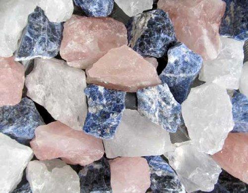 Bergkristall Rosenquarz Sodalith Edelsteinmischung 1Kg