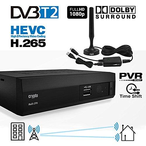 Crypto Redi 270PA DVB-T2 HEVC H.265 Sintonizador Receptor y Grabador TDT Full HD 1080P con Dolby Reproductor multimedia PVR Con antena DVB T2 interior