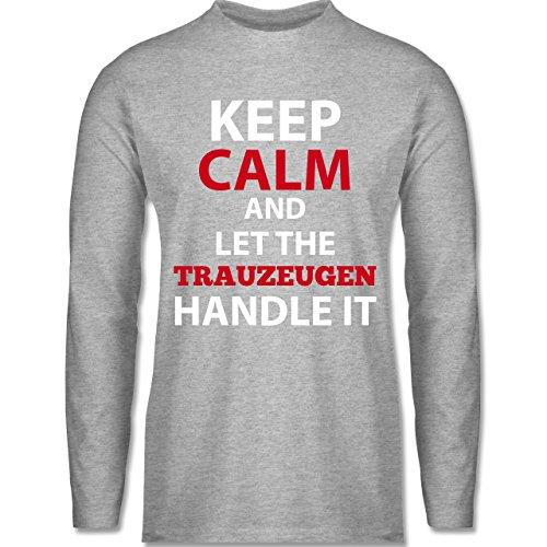 Shirtracer JGA Junggesellenabschied - Keep Calm Trauzeuge - Herren  Langarmshirt Grau Meliert