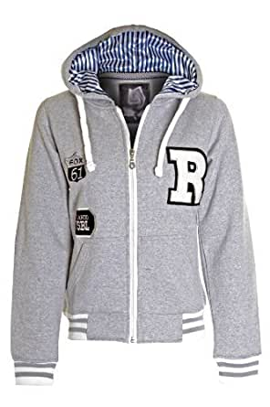 Ladies R Fox Zip Pocket Hooded Jumper Black Grey Sweatshirt Womens Hoodie 8-14 - M (10) - Grey
