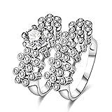 AmDxD Doppelring Set Versilbert Damen Ring Zirkonia Runde Zylinder Blume Ehering Silber Größe 57