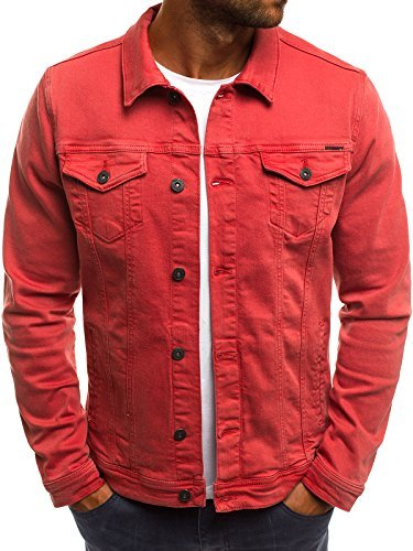 OZONEE MIX Herren Jeansjacke Übergangsjacke Jacke Denim Sweats Sweatjacke Frühlingsjacke Jeans Jacke B/5002X ROT S