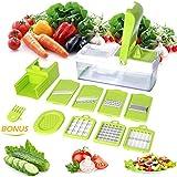 Duomishu Multi-Schneider Gemüsehobel Gemüseschneider Gemüse und Obst Schneiden, Raspeln, Zerkleinen für Zwiebel, Kohl, Kartoffeln, Tomaten, Gurken, Multischneider, Gemüseschäler, Gemüsereibe (10 in 1)
