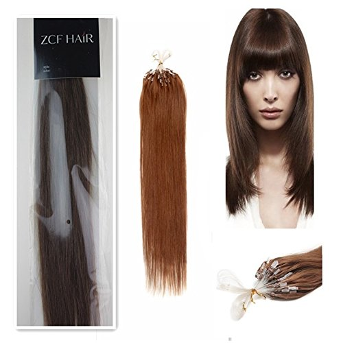 Style 20'' Easy Loops Micro Rings Beads Tipped 100% Real Human Hair Extensions Straight Hair Color 04 Medium Brown Beauty Design Salon by COOL-BEAUTY