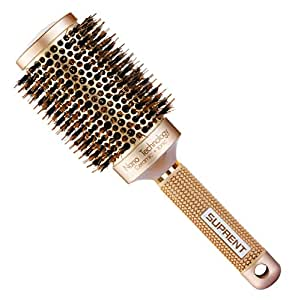 SUPRENT Nano Thermal Ceramic & Ionic Round Barrel Hair Brush with Boar Bristle, 2 inch, for Hair Drying, Styling, Curling, Adding Hair Volume and Shine, Gold Color by SUPRENT