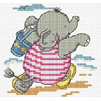 Fun On The Sand-Kit per punto croce, motivo: elefante, 10,5 x 10,5 cm