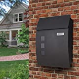 Wall Mounted Mailbox, Outdoor Lockable Iron Letterbox, Weather Resistant Galvanised Steel Mail Box