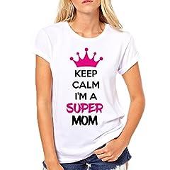 Idea Regalo - Puzzletee T-Shirt Festa della Mamma Keep Calm I'm a Super Mom - Maglietta Divertente Donna - Idea Regalo