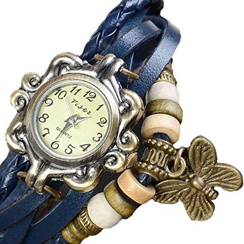 Hosaire Accesorios de moda Envoltura de armadura retro alrededor de la pulsera de cuero con muñeca de mariposa Reloj de pulsera Mujer Cuarzo Naturaleza Stlye reloj Negro