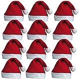 REDSTAR FANCY DRESS 12 x Babbo Cappelli - Babbo Natale Rosso Babbo Cappelli con Pelucco per Natale Ufficio Feste