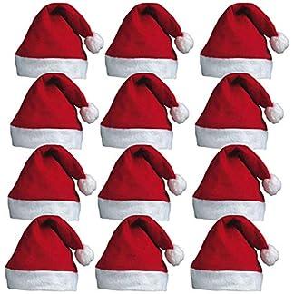 Redstar Fancy Dress – Pack de 12 Gorros de Papá Noel con pompón – Rojo