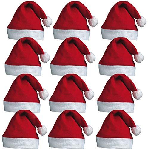 REDSTAR FANCY DRESS 12 X Santa Hüte - Weihnachtsmann Rot Weihnachtsmann-Mützen mit Bommel für Weihnachten Büro Partys