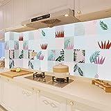 Azulejos Adhesivos Cocina 60X300Cm Cocinas A Prueba Aceite De La Cocina Estufa con Adhesivos Pared A Prueba Agua Y Losetas del Papel Pintado Papel Autoadhesivo del Gabinete Pegatinas Selva Tropical