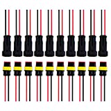 Satinior 10 Kit 2 Pin Connettore Elettrico Impermeabile Auto Electrical Connector Spina con Filo, 20 AWG Marine