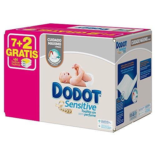 Dodot Toallitas Sensitive - 9 Paquetes de 54 unidades - Total: 486 Toallitas