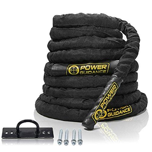 POWER GUIDANCE Corde de bataille Corde d'entrainement Ondulatoire Corde d'exercice Combat Corde de Fitness 38mm / 50mm Diamètre 9m / 12m / 15m Longueur - Battle Rope Anching Included