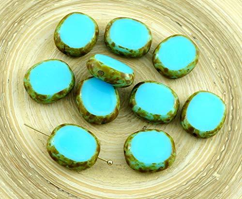 4pcs Picasso Opaque Bleu Turquoise Ovale et Plate de la Fenêtre de la Table de Coupe tchèque Perles de Verre de 14mm x 12mm