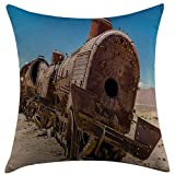 ZENGYAN Decorative Throw Pillow Cover for Couch Sofa Home Decor,Vintage Rusty Old Abandoned Steam Train Locomotive Cemetery Railroad Wreck Picture Print Blue Brown Pillow case 18x18 Inch